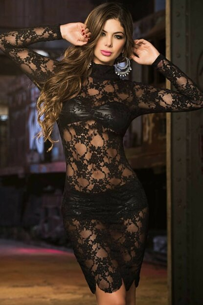 Women Complete Lace Black Nightgown Shorts Bra Suit 1283823