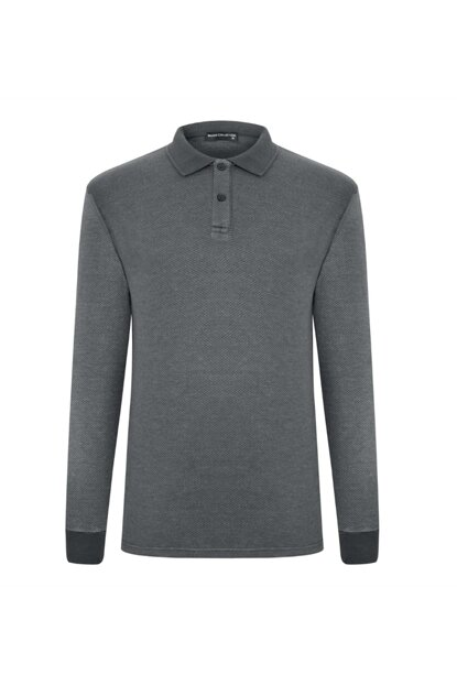 Men's Anthracite Polo Neck Long Sleeve T-Shirt 356907