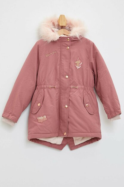Pink Girls' Hooded Printed Coat K9382A6.19WN.PN544