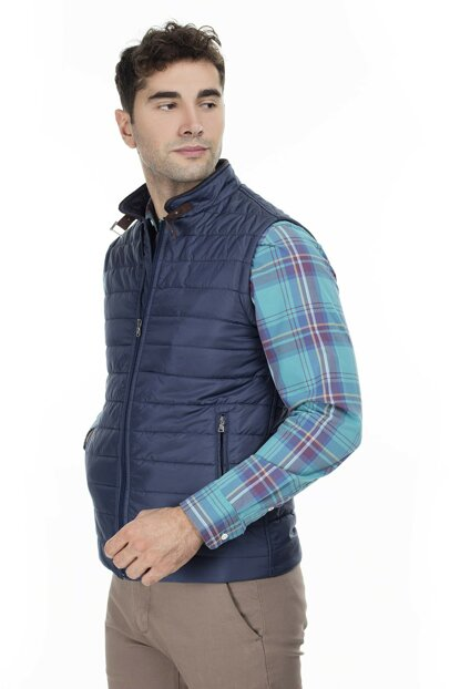 Pocket Detailed Stand Collar Vest Men's Vest 437502