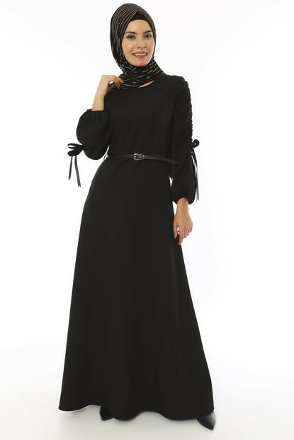 Women's Black Belted Babel Dress 3560
