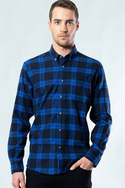 Classic Fit Blue Checked Shirt KL200001-316