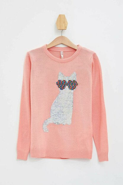 Pink Girl Child Sequined Cat Printed Sweater K9521A6.19AU.PN195
