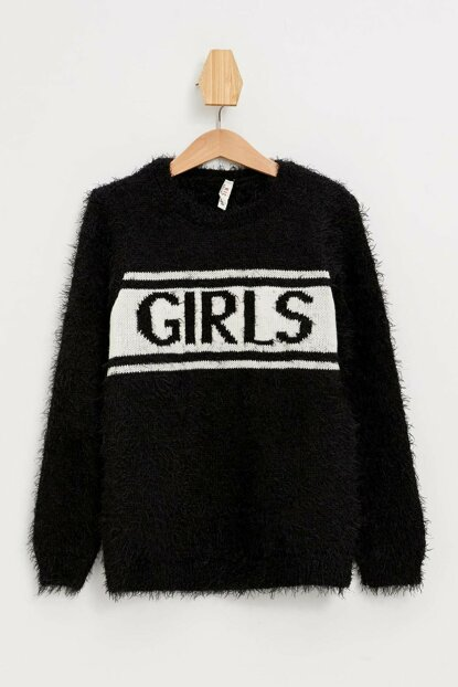 Black Girl Children Printed Sweater Pullover K9581A6.19WN.BK27