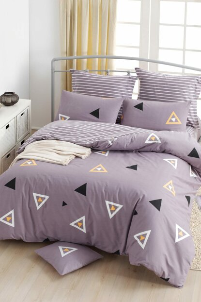 100% Natural Cotton Double Duvet Cover Set Erois Lilac Ep-018790