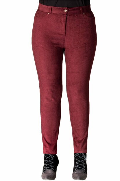 Women Burgundy Corduroy Trousers PT11322