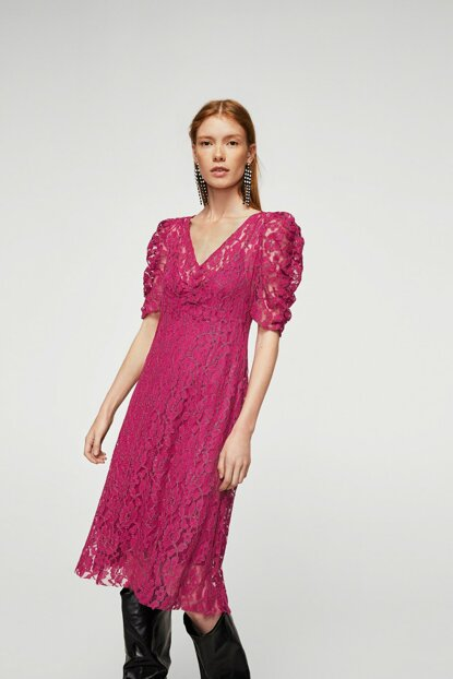 Women's Pink Metallic Lace Dress 13097680