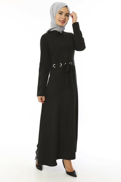 Women's Black Crew Neck Babel Dress 3514