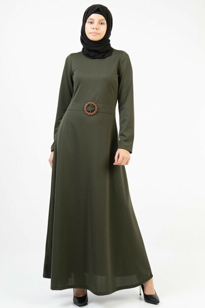 Women's Khaki Bird's Eye Belted Long Dress 3688/145