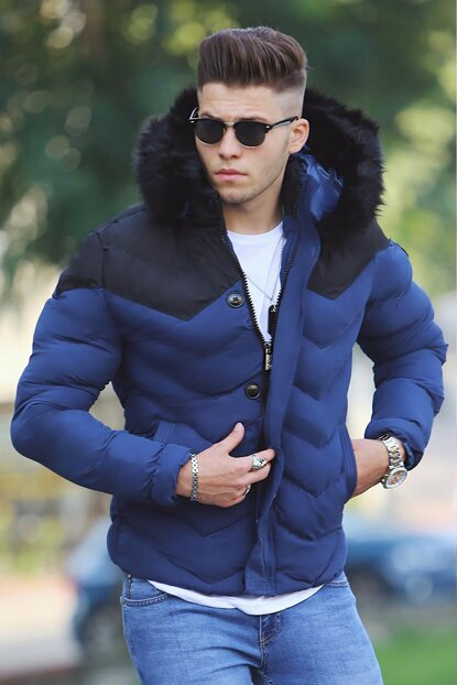 Furry Navy Blue Inflatable Coat M-59
