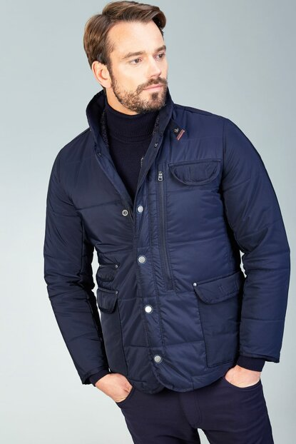 Men's Navy Blue Stand Collar Coat - A82Y6079
