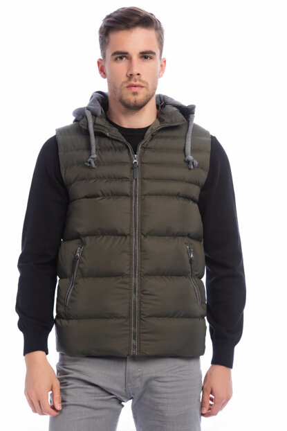 Men's Khaki Large Size Removable Hooded Inflatable Vest 4300 BB