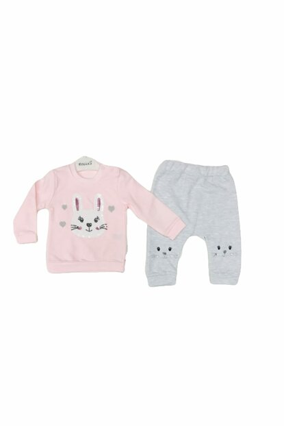 Baby Girl 0-12 Months Bunny Figured Double Set 100% Cotton 5525