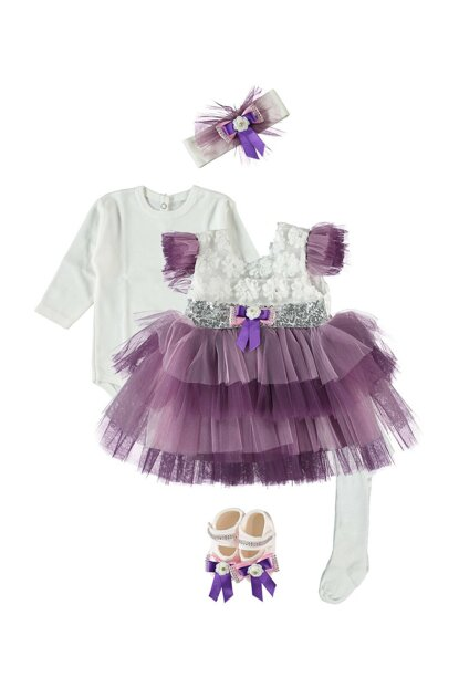 Tulle Late 5s Baby Girl Dress Set Purple PM346