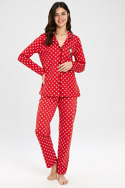 Women's Red Printed Pajama Set 9WK558Z8