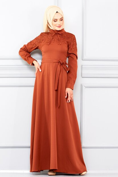 Women's Milk Coffee Front Embroidered and Belted Dress BNKM195003008