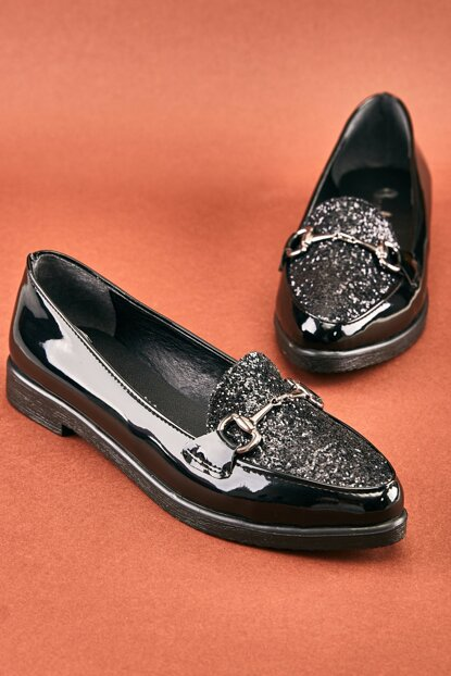 Black Women's Loafer Shoes K06411500