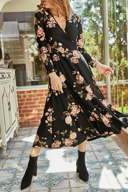 Women's Black Floral Pattern Double Breasted Dress 9YXK6-41809-02
