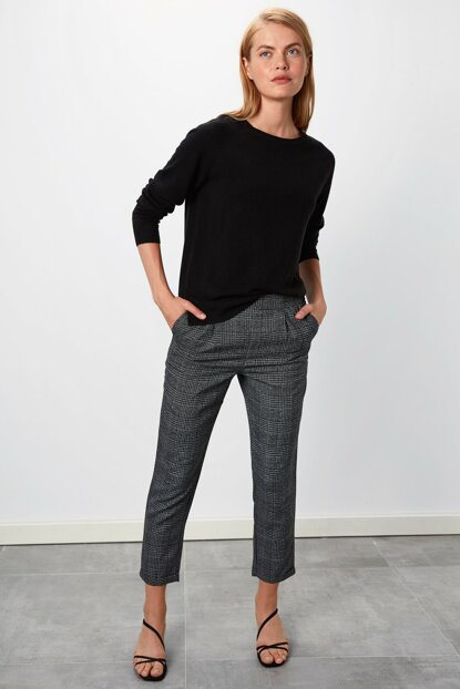 Women's Anthracite Plaid Trousers 9WL220Z8