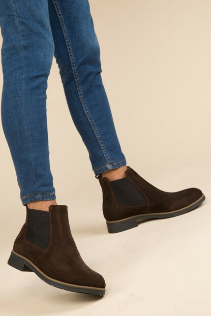 Genuine Leather Coffee Suede Men Boots 2863
