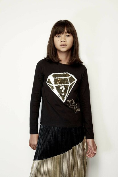 Girls' Black T-Shirt 19FWGJ94I55