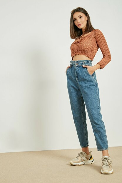 Super High Waist Mom Jean Pants - BLUE 20KPA522K108