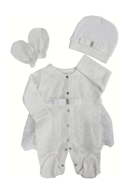 White Imported Ruched Baby Girl Jumpsuit Suit AF90271T