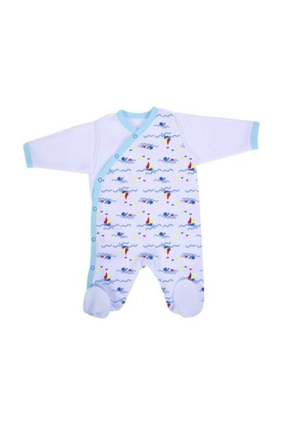 Premature Patterned Pajamas Jumpsuit Art-6945 Blue 358017-00005_R035