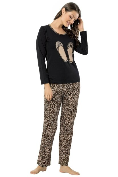 Women's Black Coffee Leopard Long Sleeve Pajamas Set 2455