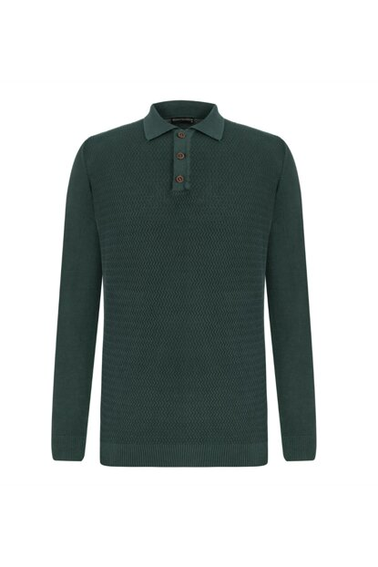Men's Dark Green Polo Neck Cotton Pullover 338073