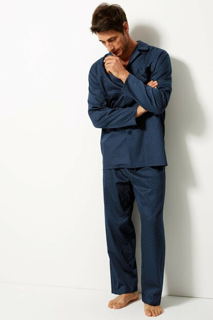 Men's Navy Blue Pure Cotton Pajama Set T07004646