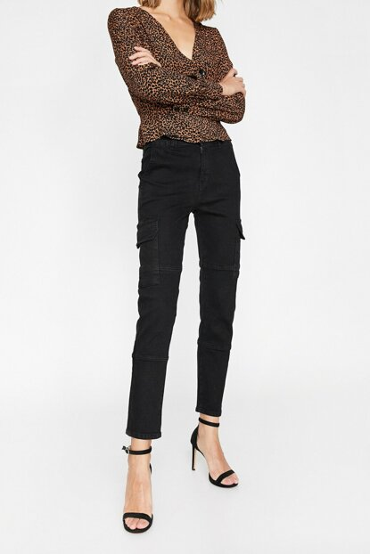 Women Black Eve Jean Pants 0KAK47312MD
