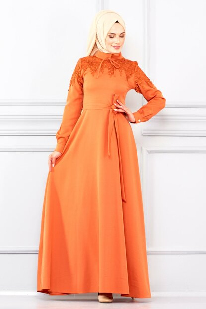 Women's Orange Front Embroidered and Belted Dress BNKM195003006