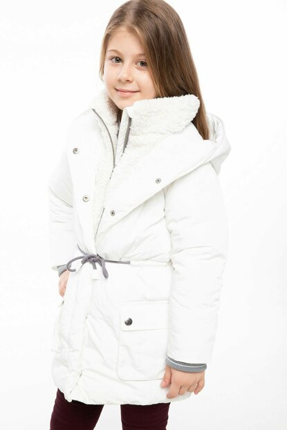 White Girls' Hooded Rope Belt Parka J0048A6.18WN.WT34