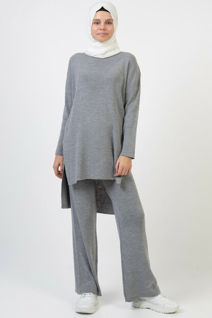 Women's Gray Sweater Pants Suit 3832