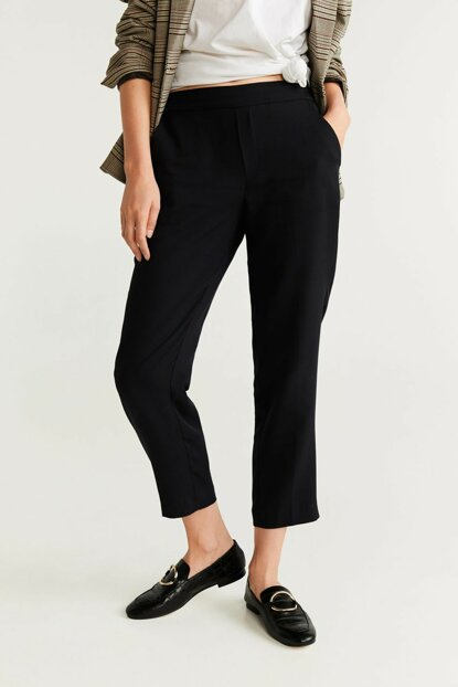 Women's Black Waist Lace-up Straight Trousers 57047699