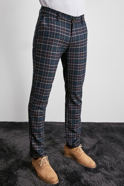 Navy Blue Men's Chino Plaid Trousers TMNAW20PL0568