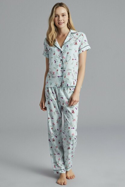 Women's Mint Jade Pajamas Set PNSISLFC19SK-MNT