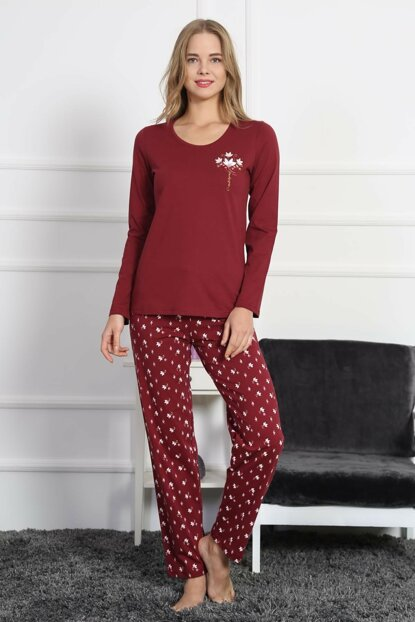 Women's Burgundy Pajamas Suit 8030451780 TVIE19FWPTK099