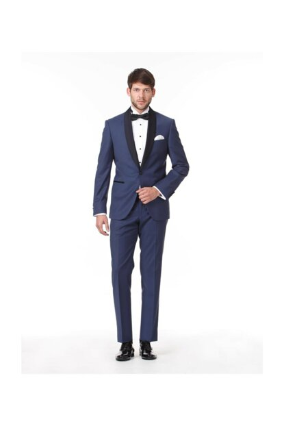 Slim Fit Pleat Shawl Lapel Tuxedo Suit KP10086265