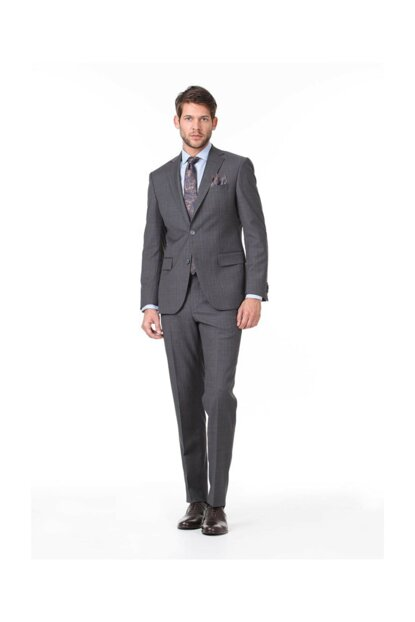 Men's Anthracite Striped Woven Suit KP10117910