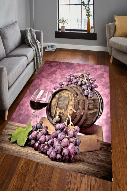 Grape Barrel Patterned Digital Printed Carpet RSP001538