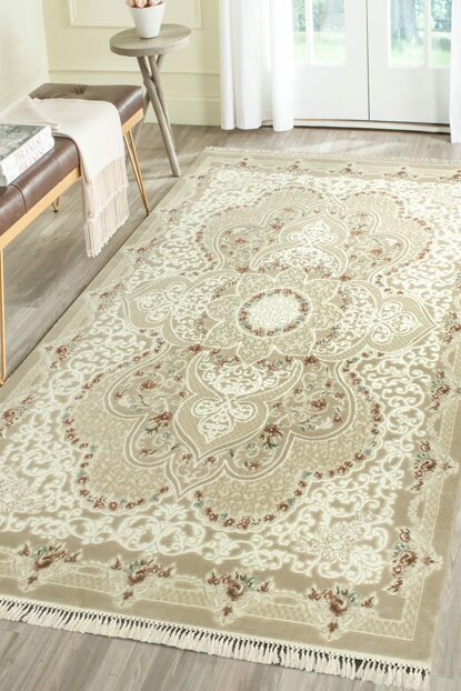 200x290 Mihrimah 4853A Beige Patterned Carpet