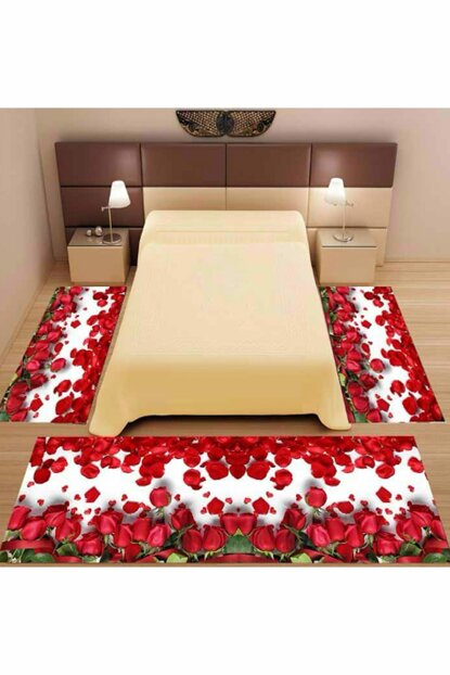 3Lu Set Else Wood Red Roses 3D 3D Bedroom Carpet 3 Piece Set trenyol429