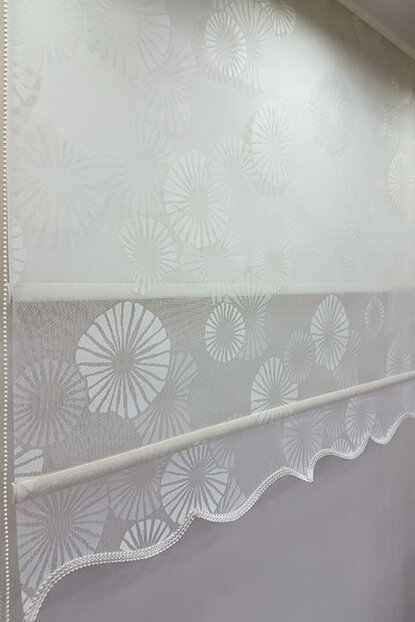 100X200 Double Mechanism Tulle Curtain and Roller Blinds MT1094 8605480894882