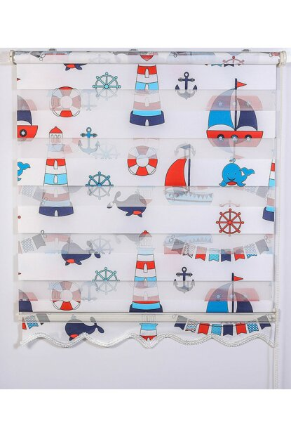 180x200 Zebra Curtain MARINE Digital Printing Blue Red Children Room Roller Blinds A1002127