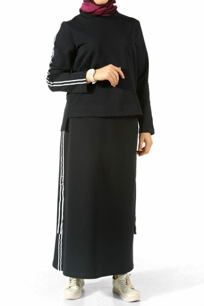 Women's Navy Blue Stripe Detail Skirt Suit TK80149