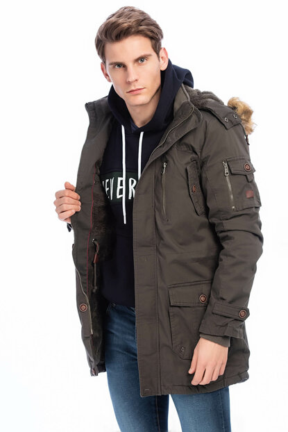 Men's Khaki Detachable Faux Fur Detail Hooded Plush Lined Coat 2475
