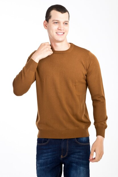 Men's Light Brown - Camel Crew Neck Sweater - 81128