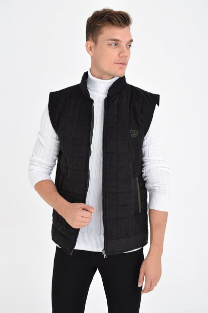 Men's Black Zippered Quilted Artificial Suede Vest 4380